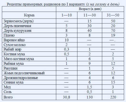 Таблица: кормление уток на мясо