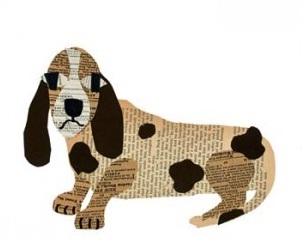 Панно на стену с собакой из обычной газеты.