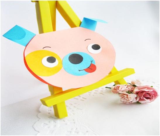 Новогодняя открытка «Желтая Собака» из бумаги своими руками в детский сад поэтапно.