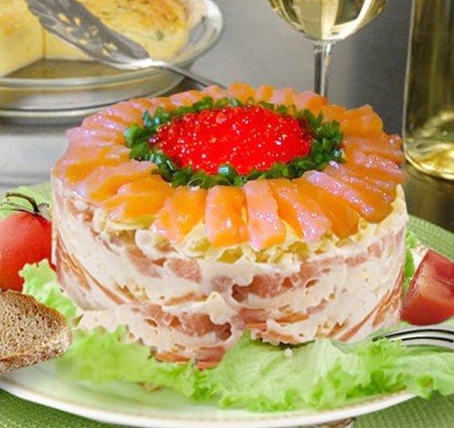 Царский салат с семгой на Новый год 2018.