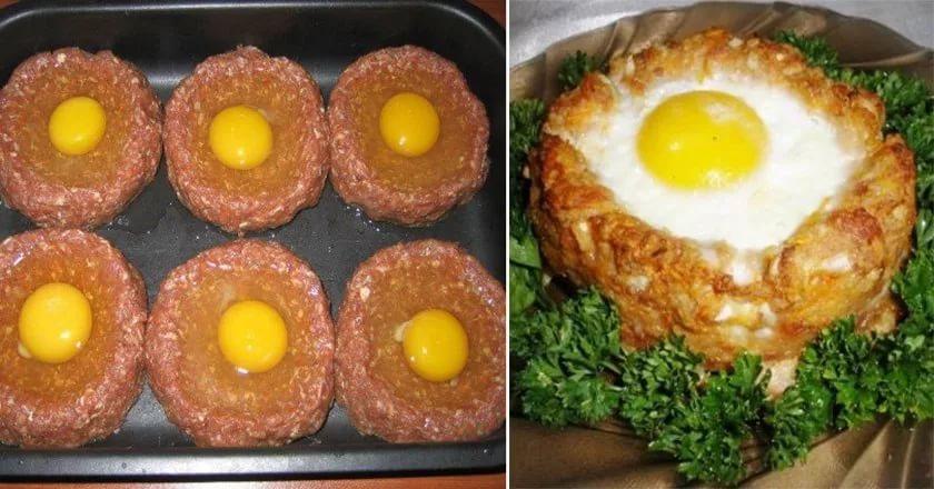 Рецепт с фото: «Гнёзда» с сочным мясом.