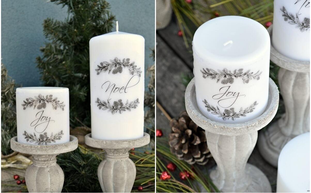 Оригинальная идея: свеча с гравировкой из подручных материалов