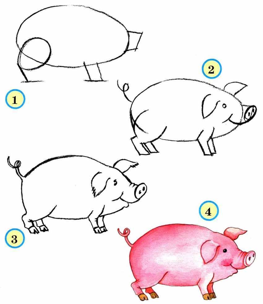 Как нарисовать Свинью на Новый год 2019?