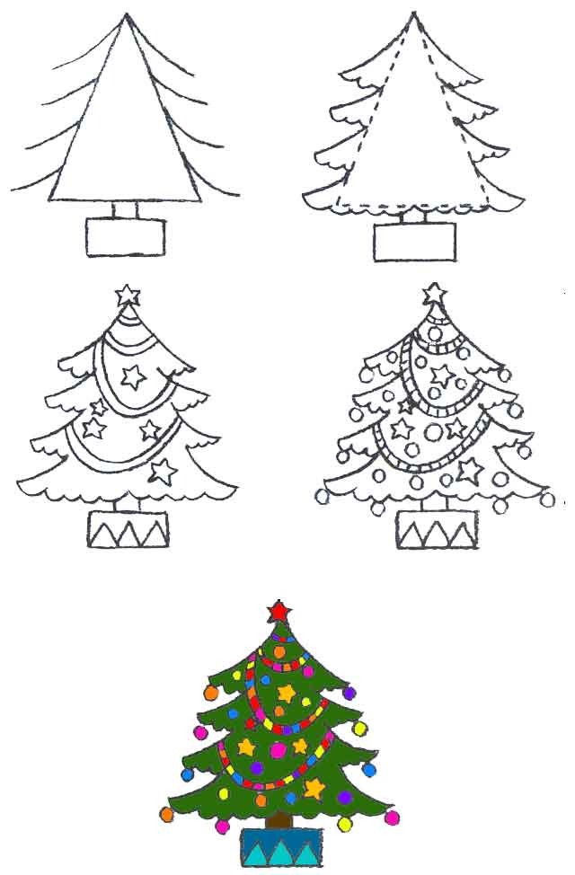 Картинки: Как нарисовать новогоднюю ёлку?