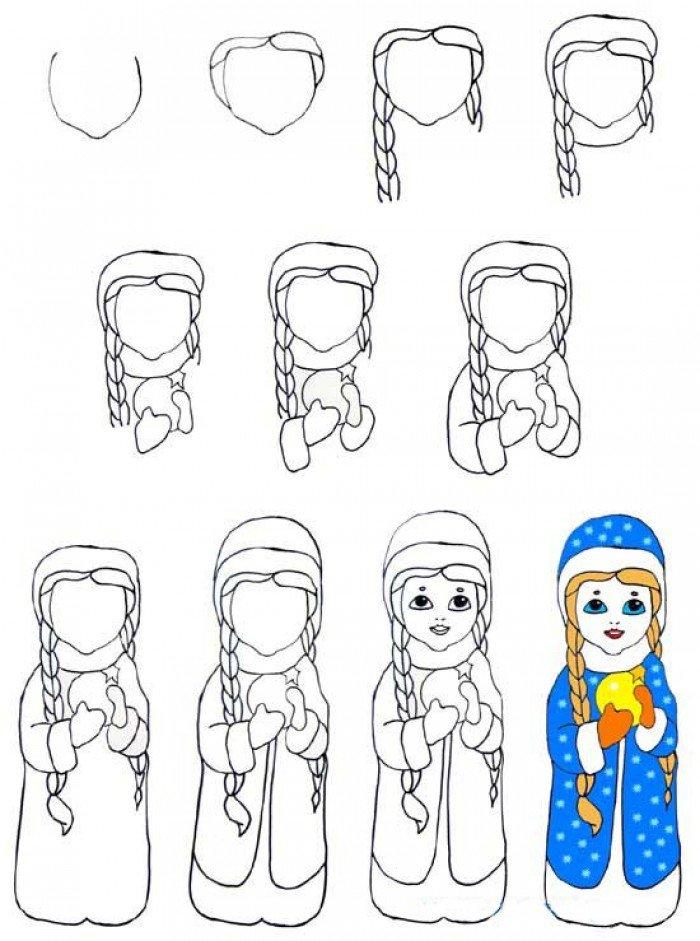 Как нарисовать снегурочку: Второй вариант.