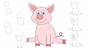 Как нарисовать символа года 2019 - Свинью?