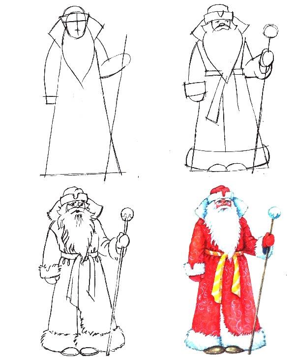 Картинки дед мороза и снегурочки карандашом