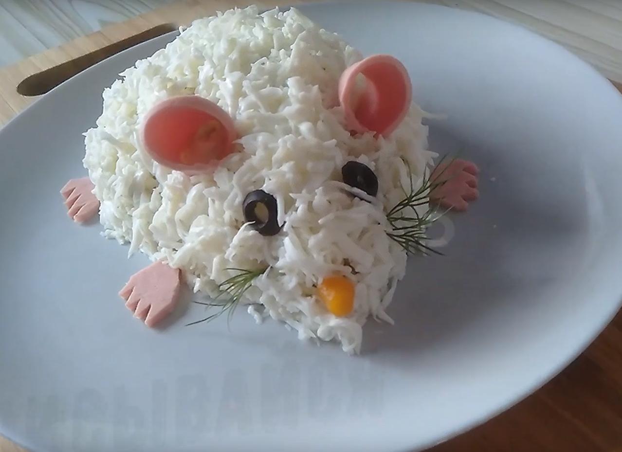 Оливье на Новый год – старый рецепт на новый лад в виде Крысы