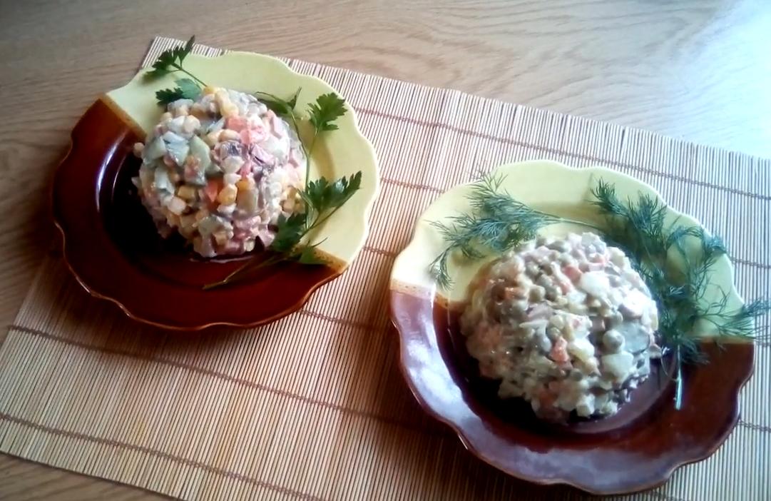 Оливье классический ассорти - с колбасой, мясопродуктами и грибами