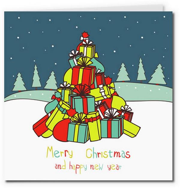 Распечатать цветные открытки на новый год