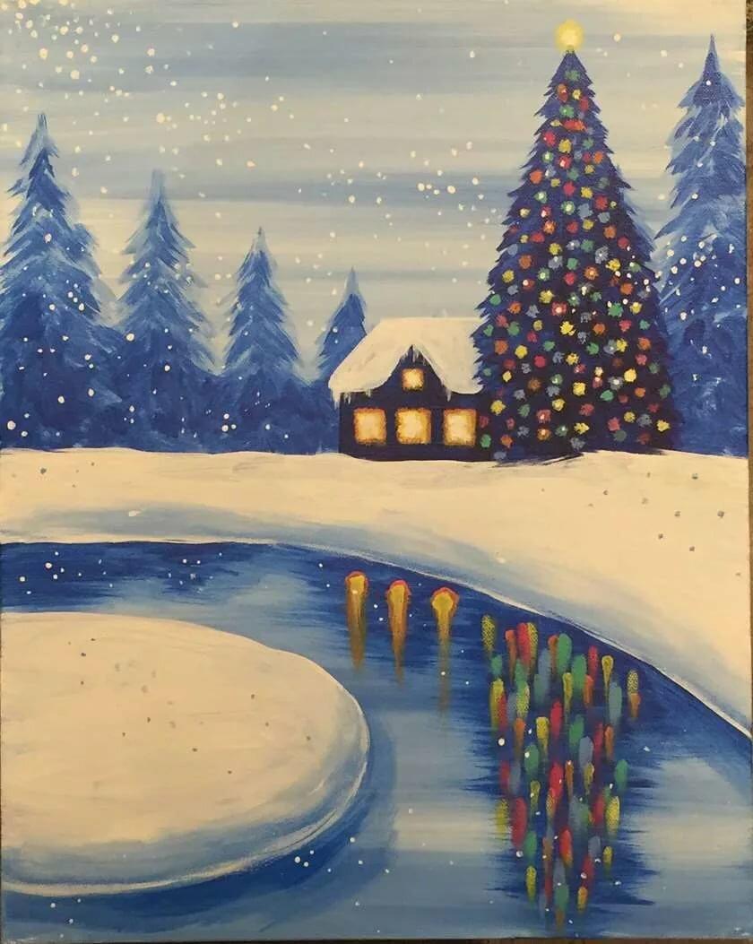 Красивые зимние рисунки гуашью страницах раскрасок