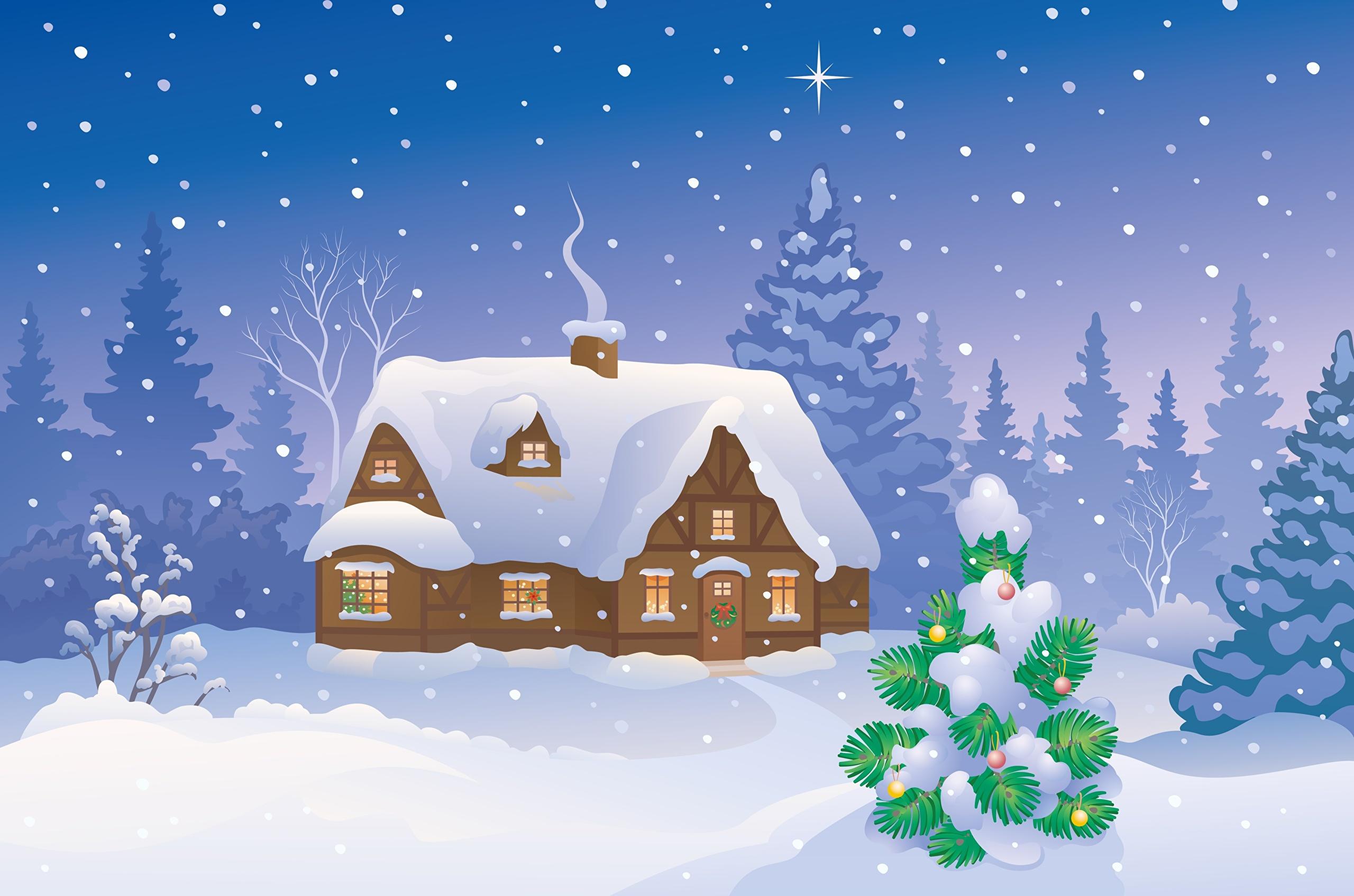 картинка сказочного зимнего домика изготовлении клепаного