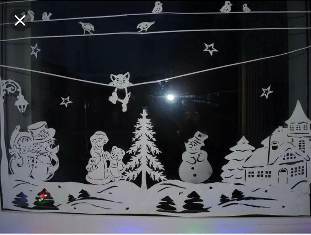 Трафареты на окно на Новый год