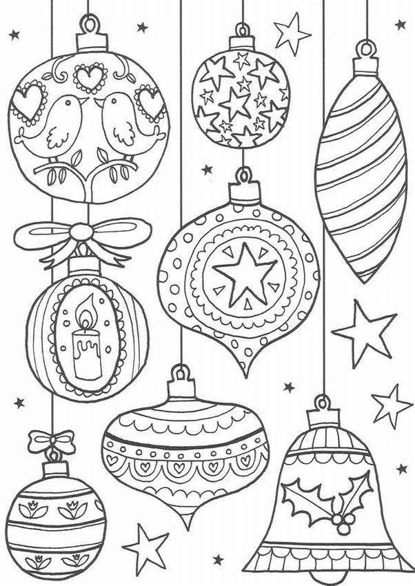 Трафареты на Новый год: ёлочные игрушки