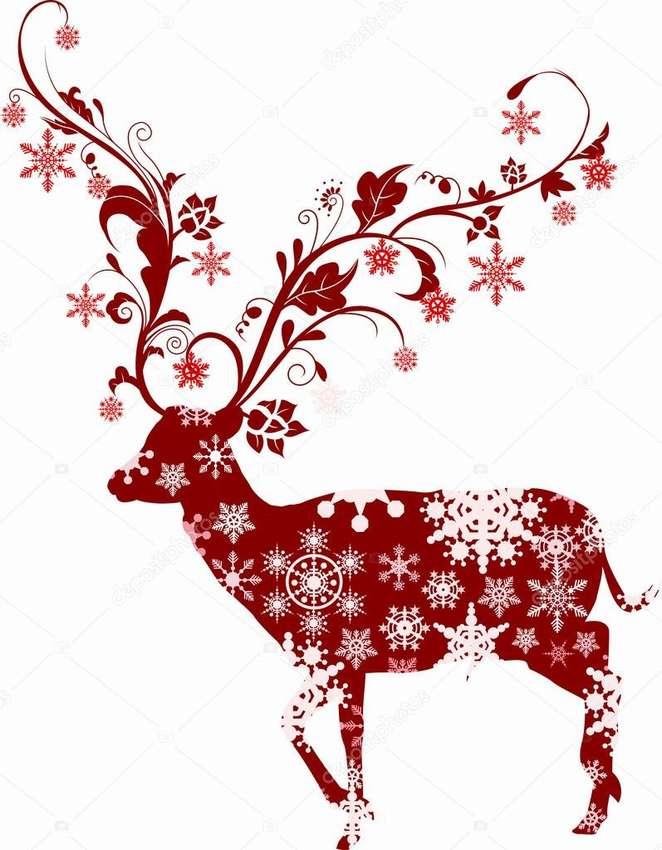 Картинки на окно на Новый год - Олени