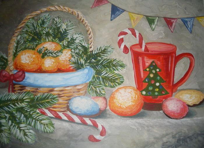 Новогодние натюрморты - красивые рисунки, фото и картинки