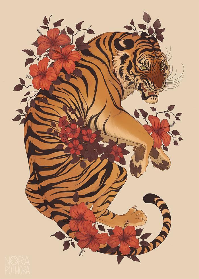 Тигр в восточном стиле