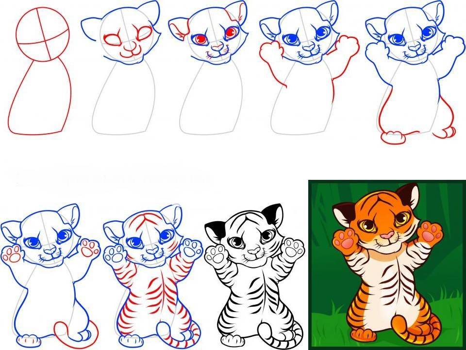 Рисуем тигрёнка