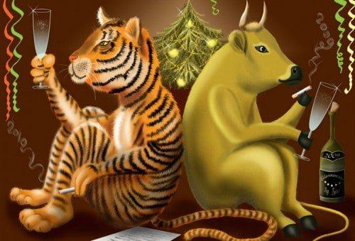 Сценарии с участием Быка и Тигра на Новый год 2022